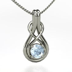 The Infinity Knot Pendant #customizable #jewelry #aquamarine #silver #necklace
