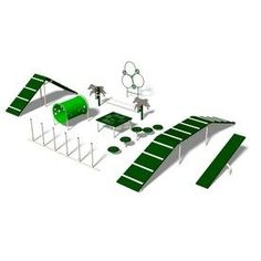 Ultra Play 9-Activity Expert Dog Park Agility Course Kit - This outrageously over-priced ($9,200+) dog agility set gives great ideas for making the equipment yourself, if you're handy.  It includes the Rover Jump Over, Paws Table, Doggie Crawl, Hoop Jump, Stepping Paws, King of the Hill, Teeter Totter, Weave Posts and Dog Walk   by Lowes