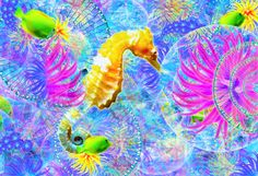 Seahorse and Happy Fish Fish, Happy, Outdoor Decor, Painting, Animals, Home Decor, Art, Art Background, Animales