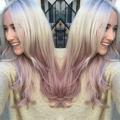 Rose gold dusty purple ombré hair. Long blonde hair with purple ends. Metallic obsession Kenra by guy tang. Color by Erica santos @stylist925