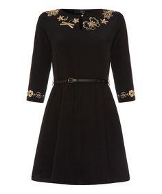 Black & Beige Embroidered Dress