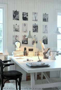 Home office inspiration. I would have a gallery wall of family pics beside me to inspire me to work hard for them ; Home Office Space, Office Workspace, Home Office Design, Home Office Decor, House Design, Office Ideas, Workspace Design, Desk Space, Industrial Workspace