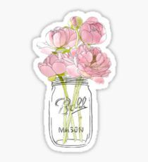 Flowers in Mason Jar Pegatina