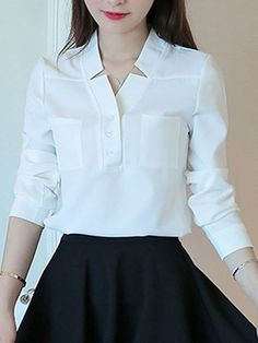 Autumn Spring Chiffon Women V-Neck Patch Pocket Plain Long Sleeve Blouses Dress Neck Designs, Blouse Designs, Sewing Clothes Women, Clothes For Women, Look Office, Basic Outfits, Casual Outfits, Discount Designer Clothes, Discount Clothing