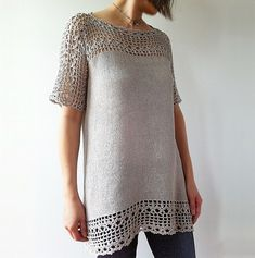 Ravelry: Julia - floral lace tunic (crochet+knit) pattern by Vicky Chan fingering 896-1554m in lino