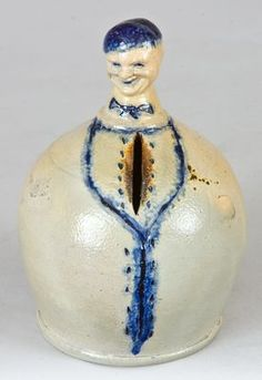 Extremely Rare Figural Stoneware Bank, New York State origin -- Lot 17 -- July 2009 Stoneware Auction Antique Crocks, Old Crocks, Antique Stoneware, Stoneware Crocks, Glazes For Pottery, Glazed Pottery, Whisky, Ceramic Clay, Porcelain Ceramics