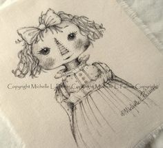 Original Pen Ink on Fabric Illustration Quilt Label by Michelle Palmer Raggedy Doll Annie Rag Girl