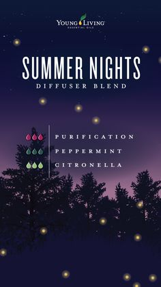 Tell us more, tell us more about those Summer Nights with this diffuser blend! It's made out of 3 drops of Purification, 3 drops of Peppermint, and 3 drops of Citronella. Young Essential Oils, Essential Oils Guide, Lemon Essential Oils, Citronella Essential Oil, Vetiver Essential Oil, Essential Oil Diffuser Blends, Relaxing Essential Oil Blends, Young Living Oils, Diffuser Recipes