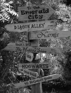 Signpost featuring Harry Potter, Lord of the Rings, Narnia, Peter Rabbit and more...Fun for kids room or library