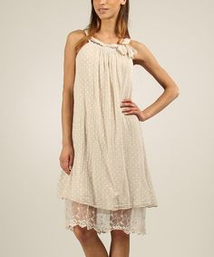 Look at this #zulilyfind! Beige Judith Dress by La Fille du Couturier #zulilyfinds
