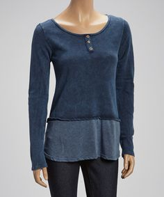 Loving this G-Scent Blue Faded-Hem Henley on #zulily! #zulilyfinds