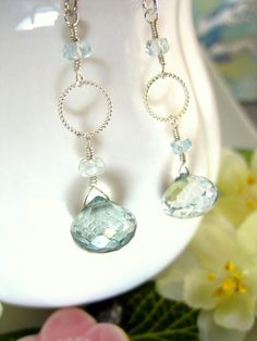 Teal green cocktail sterling silver earrings light by KBlossoms, $35.00