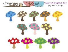 Toadstool Mushroom Set: Clip Art Graphics for Teachers