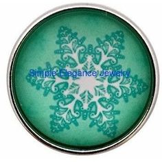 #517 Green Snowflake Snap 20mm for Snap Jewelry