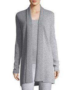 Cashmere+Ribbed-Trim+Open-Front+Cardigan+by+Neiman+Marcus+Cashmere+Collection+at+Neiman+Marcus.