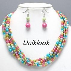 Playful Bold Candy-Colored Quality Pearl Bead Multi Strand Necklace Earring Set #uniklook