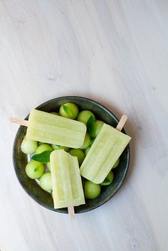 Honeydew Mint Ice Pops. I'd totally use less sugar (or even honey).