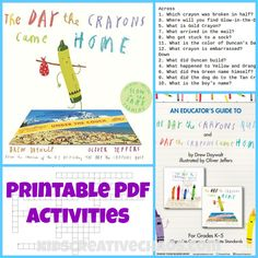 The Day the Crayons Home Curriculum Lesson Plans Online Homeschool Lesson - PDF Activities: Book Teaching Activities, Classroom Activities, Teaching Ideas, Indoor Activities, Teaching Resources, Crayon Book, Relief Teacher, Library Lessons, Piano Lessons