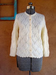 Vintage 1960s Cardigan Sweater White Lace B34 by bycinbyhand, $24.00