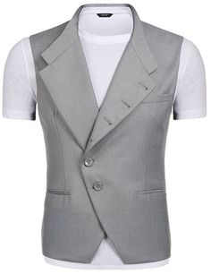 Coofandy Men's Sleeveless Slim Fit Wedding Jacket Casual Single-Breasted Suit Vests at Amazon Men's Clothing store:
