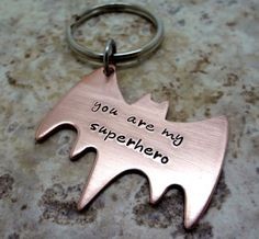 Superhero Key Chain - Hand Stamped Copper Batman Key Ring - Fathers Day - Boyfriend Husband Partner