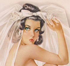 Vintage Vargas girl bridal pin-up from 'Playboy,' June 1965.