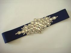 Bride Sash Navy blue Wedding Belt with crystal by TeresaWedding, $58.00