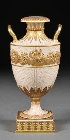 Wedgwood Gilded and Bronzed Earthenware Vase, England, c. 1880, #porcelain…