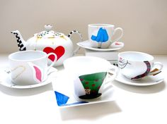 Wonderland Tea Set- 4 Cups and Saucers- 1 Teapot @ http://www.etsy.com/listing/71362546/wonderland-tea-set-4-cups-and-saucers-1