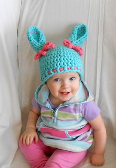 Bunny Hat Easter Bunny Hat Newborn Bunny Hat Easter Photo Props    #bunny #hat #easter #blue #turquoise #pink #baby #newborn