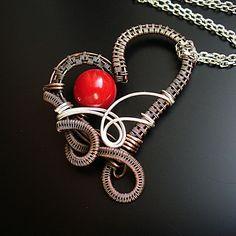 Red Heart Love Copper Necklace Heart Pendant by StudioAngel