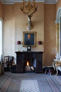 A portrait of Sir William Grant hangs in the entry hall at HIllersdon House in Devon Georgian Interiors, English Country Decor, Ivy House, Antique Interior, English House, House Inside, Classic Interior, Country Style Homes, Interior Design Inspiration