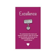"""Settle for More Lapel Pin on """"Excellence"""" Appreciation Card. From Promotions Now."""