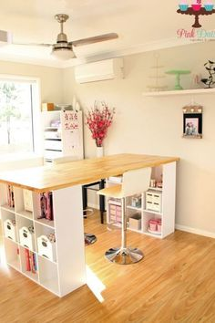 My renovated spare bedroom now transformed into my cake decorating room - IKEA Room Design, Diy Furniture, Room Organization, Craft Room Storage, Sewing Room Design, Room Decor, Home Bakery, Sewing Room Inspiration, Craft Room Tables