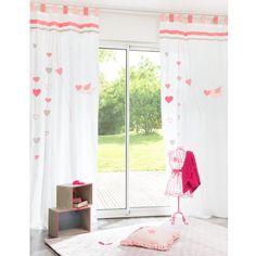Cortina de presillas de algodón blanca y rosa 105×250cm IDUNA