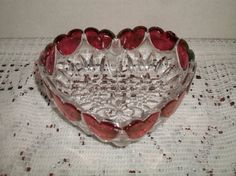 Vintage Cranberry Glass Heart Bowl Retro Dish by ALEXLITTLETHINGS