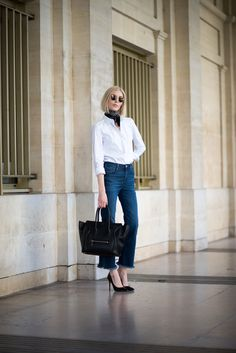White shirt - Fall fashion - small silk scarf - Céline mini luggage - flared jeans