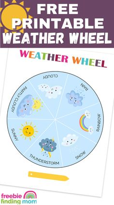 Do you want a fun and educational activity for kids? Download this Free Printable Weather Wheel to help your preschoolers and kindergarteners learn about the different types of weather. Each day they will enjoy changing the weather wheel to match that day's weather outside. They can record these daily observations then at the end of the month they can count the number of days that were sunny, cloudy, rainy etc. Grab this free printable for kids now! #weatherwheelprintablefree Activities For One Year Olds, Educational Activities For Kids, Preschool Activities, Preschool Learning, Printable Chore Chart, Free Printable Coloring Pages, Free Printables, Daily Weather, Freebies By Mail