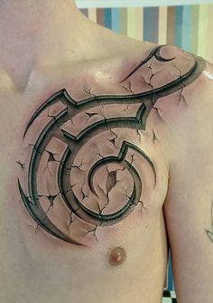 3D Tribal Chest Tattoo | Best tattoo ideas & designs
