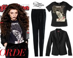 Lorde appears on the cover of the latest issue of Rolling Stone magazine wearing a The Cramps T-Shirt ($22.95) and a suit by Maison Martin Margiela. Steal the look with a basic black blazer similar to the Merona Women's Doubleweave Jacket ($20.98, pictured) from Target and pants similar to the Baggy Velvet Trousers ($24.99, pictured) from Mango.