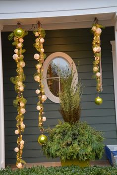 lighted-bars-and-sinamay-ribbon - Steel pole wrapped in mini lights covered with sinamay ribbon.