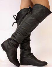 Ladies Flat Winter Biker Style Low Heel Over The Knee Thigh High Leg Knee Boots (Harley Quinn)
