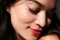 Shanina Shaik / NARS Audacious Lipstick in Geraldine / Into the Gloss
