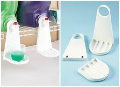 Tidy-Cup drip trays snap onto the spout of your liquid detergent dispenser, giving you a place to set your measuring cup and a trap for catching leaks or spills.
