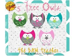 Free TPT - Five Little Owls graphics by The 3am Teacher.