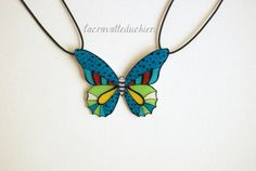Butterfly Necklace, Butterfly jewerly, Statement Blue Green Butterfly Necklace