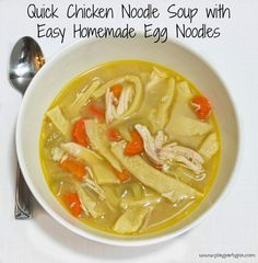 Quick Chicken Noodle Soup with Homemade Egg Noodles from playpartypin.com #Chicken #Soup