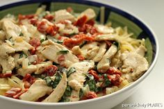 Sun Dried Tomatoes and Basil Chicken Fettuccine {Persnickety Plates}