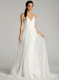 Wedding Dresses - $163.00 - A-Line/Princess V-neck Court Train Tulle Wedding Dress With Embroidered Ruffle (0025096389)