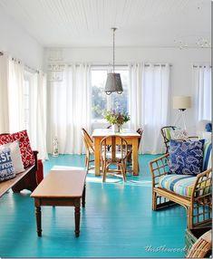Blue floors!!! LOVE it!!  Mermaid Cottages of Tybee Island Georgia.